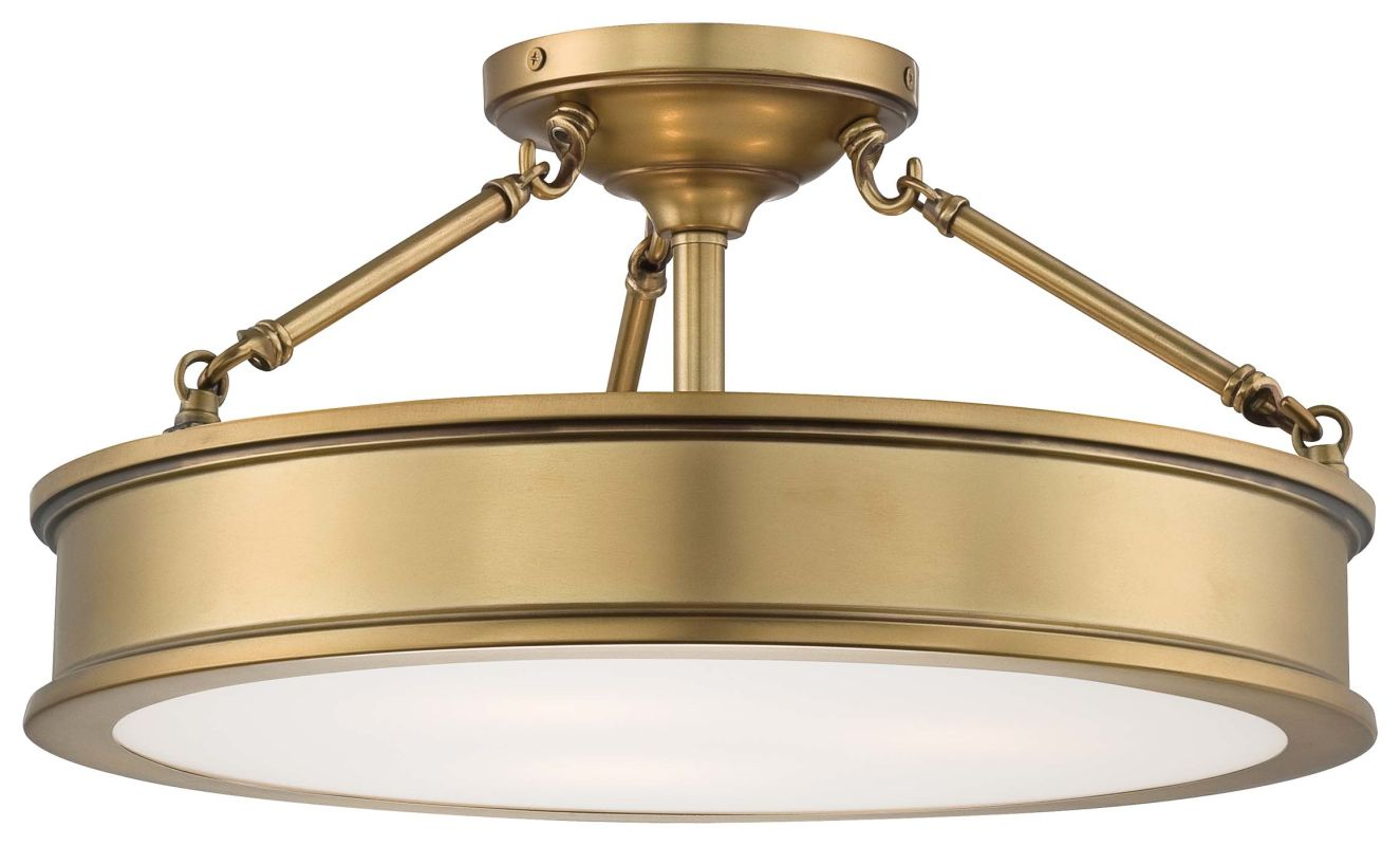 Minka lavery 4177 249 liberty gold 3 light semi flush ceiling fixture from the harbour point for Minka bathroom light fixtures