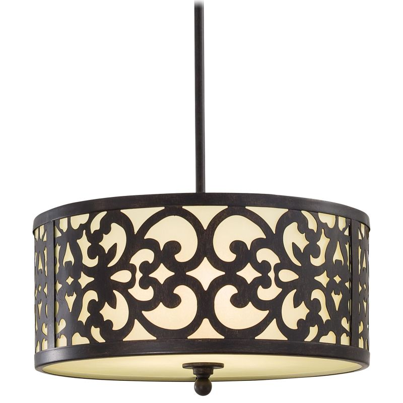 """Minka Lavery 1493 3 Light 10"""" Height Indoor Drum Pendant from the"""
