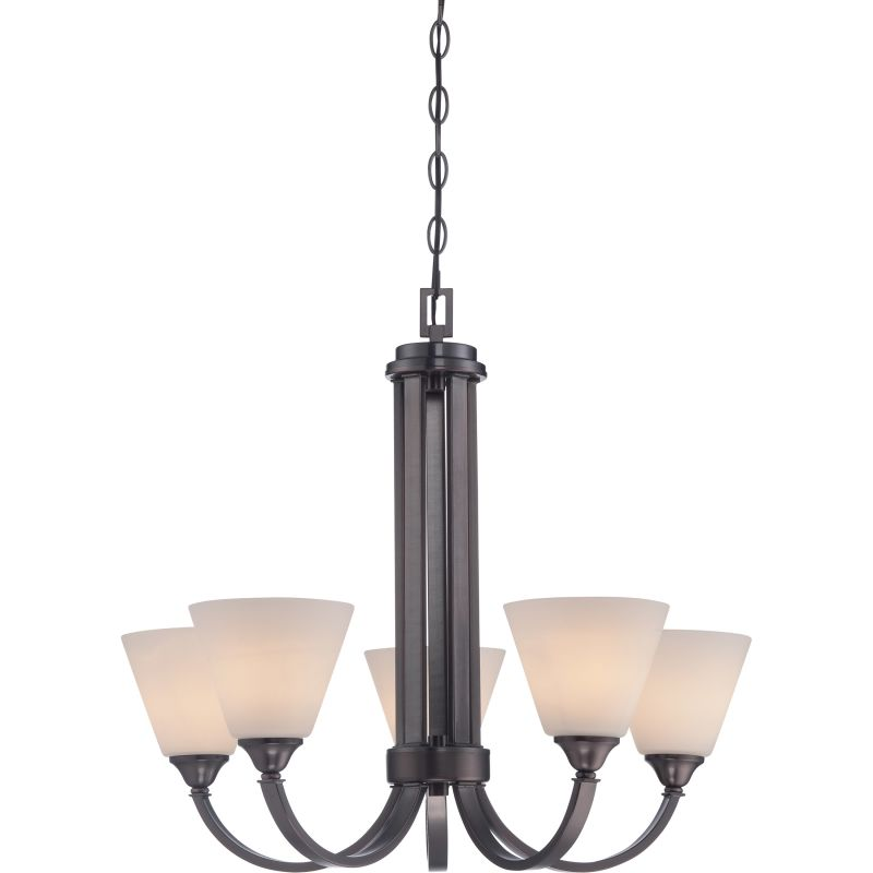 Miseno MLIT0038E2 5-Light Chandelier with White Etched Shades (48""