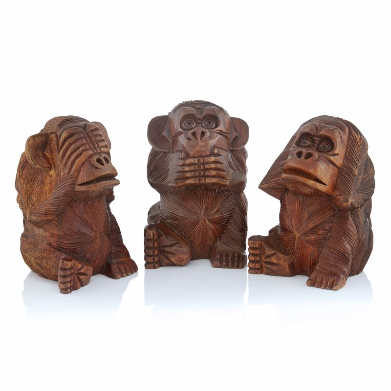 Modern Day Accents 9021 Mico No Evil Monkeys - Set of 3 Brown Home