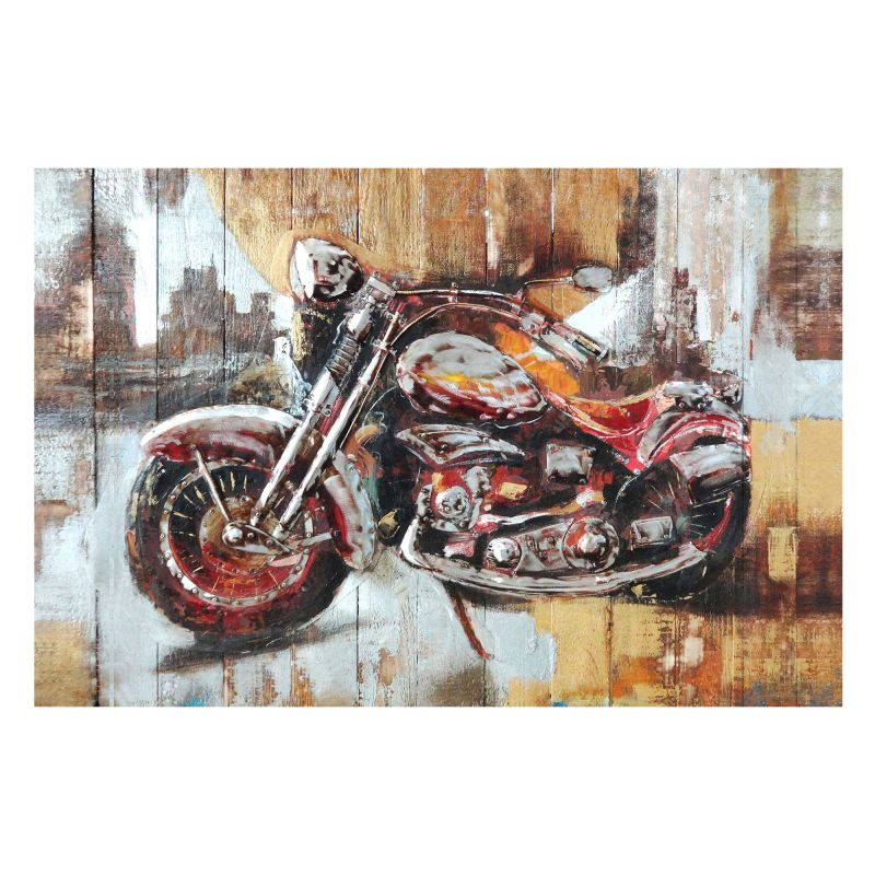 "Moes Home Collection FX-1122 40"" x 80"" Motorcycle Hand Painted Oil"