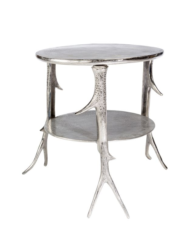 """Moes Home Collection NM-1008 Sprig 20"""" Wide End Table Silver Furniture"""