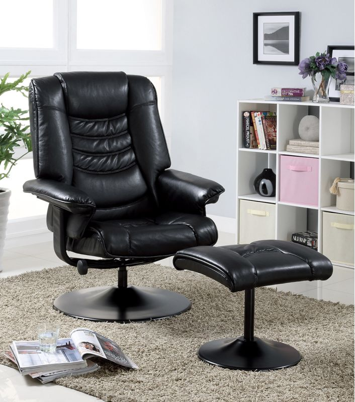 Monarch Specialties Swivel recliner with ottoman I Faux Leather