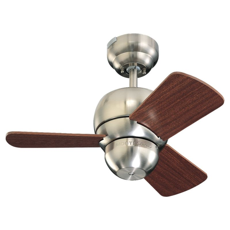 """Monte Carlo Micro 24 Three Bladed 24"""" Mini Indoor Ceiling Fan Brushed"""