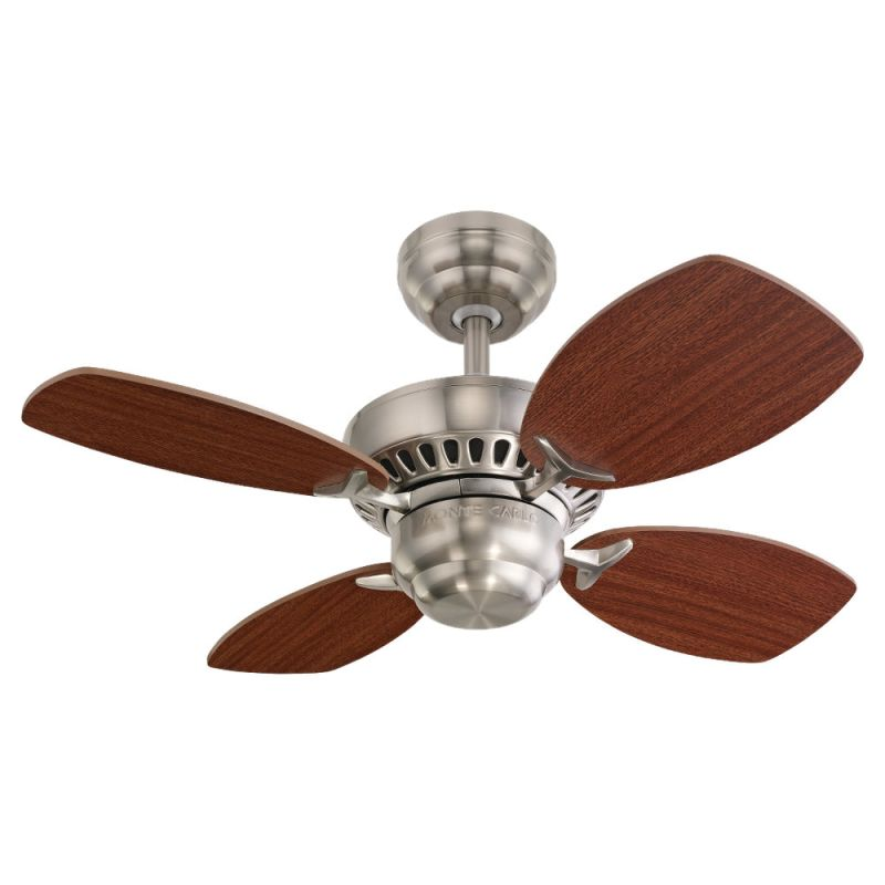 """Monte Carlo Colony II Four Blade 28"""" Mini Indoor Ceiling Fan Brushed"""