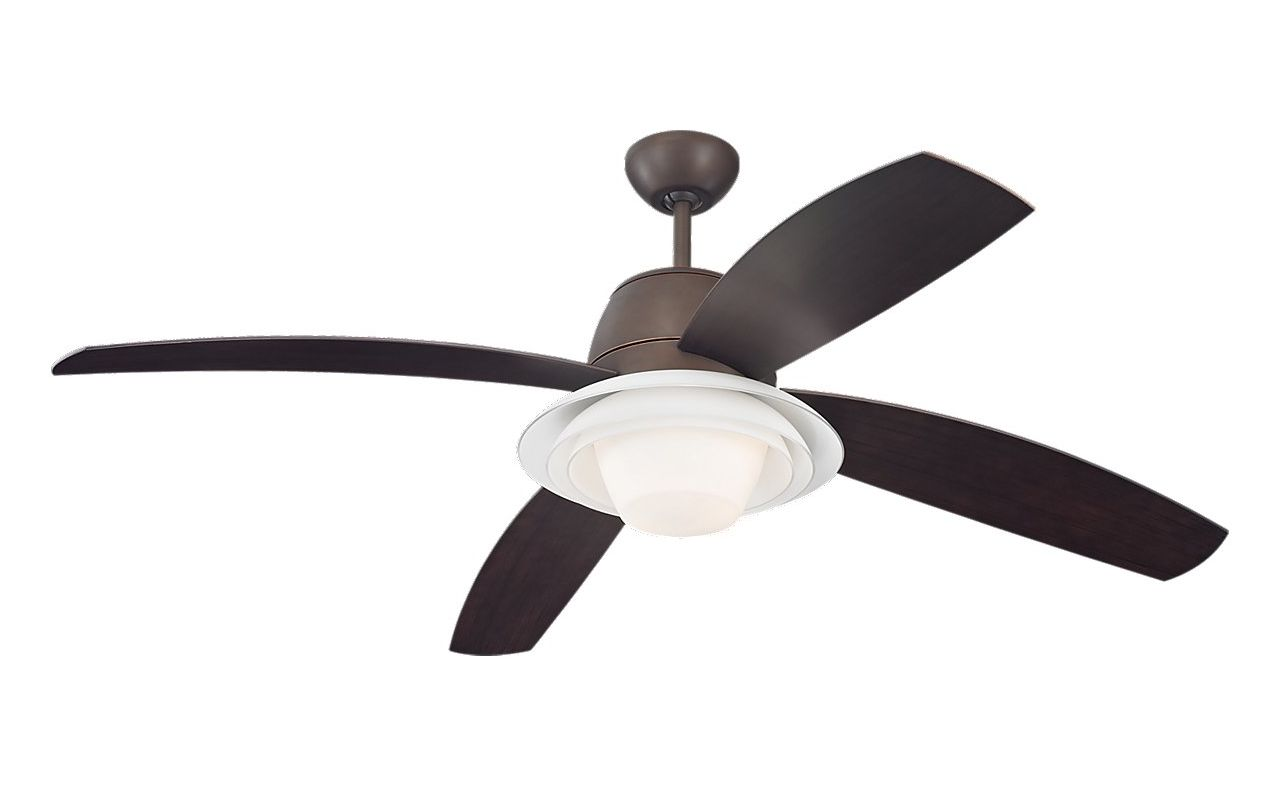"Monte Carlo Icon 4 Blade 52"" Ceiling Fan - Blades Light Kit Bulbs"