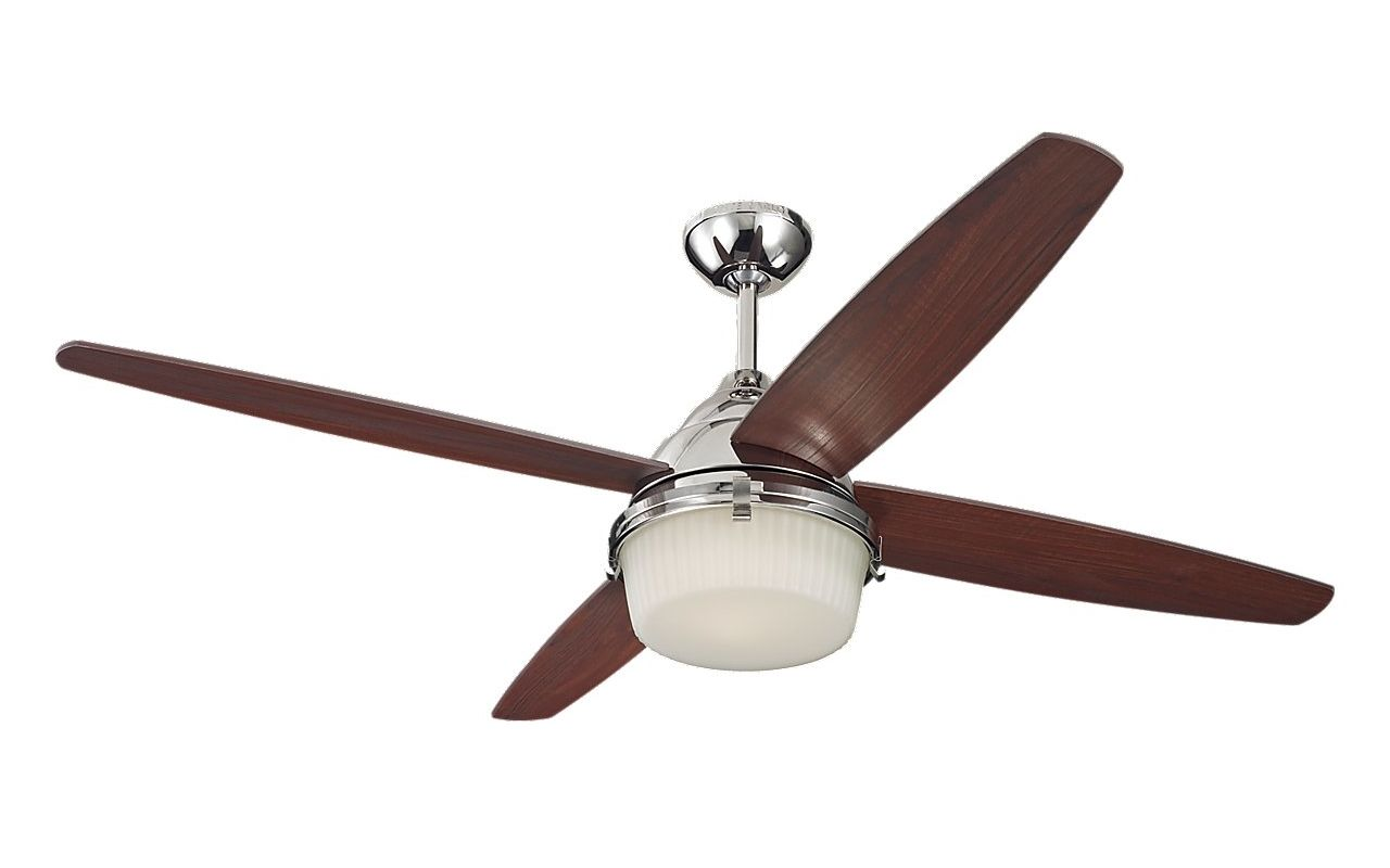 "Monte Carlo Mondeo 4 Blade 52"" Ceiling Fan - Blades Light Kit Bulbs"