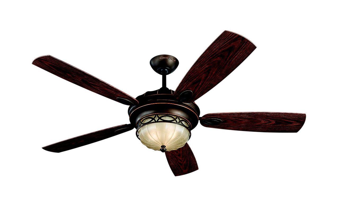 """Monte Carlo Edwardian 5 Blade 56"""" Outdoor 3 Light Ceiling Fan Roman"""