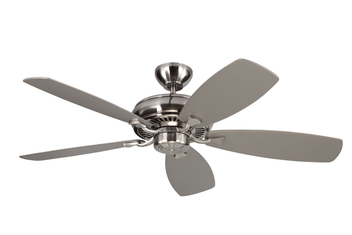 monte carlo 5lcm52bs brushed steel 5 bladed 52 indoor ceiling fan. Black Bedroom Furniture Sets. Home Design Ideas