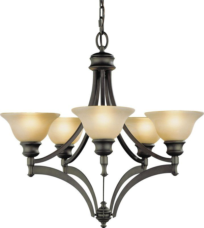 Murray Feiss F1942/5 Pub Wrought Iron 5 Light Chandelier Oil Rubbed