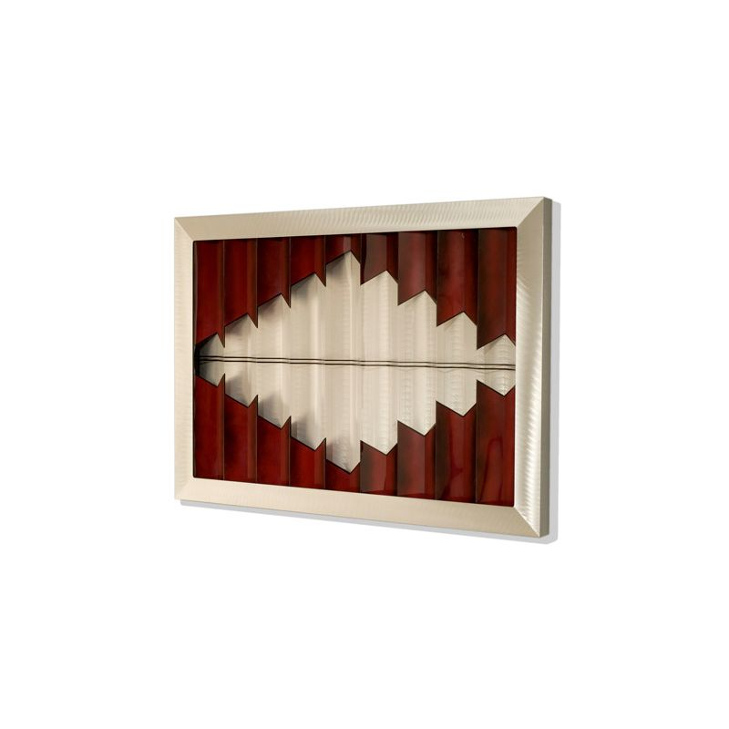 "Nova Lighting 3710147 Breach 30"" Height Wall Art Silver / Red Home"