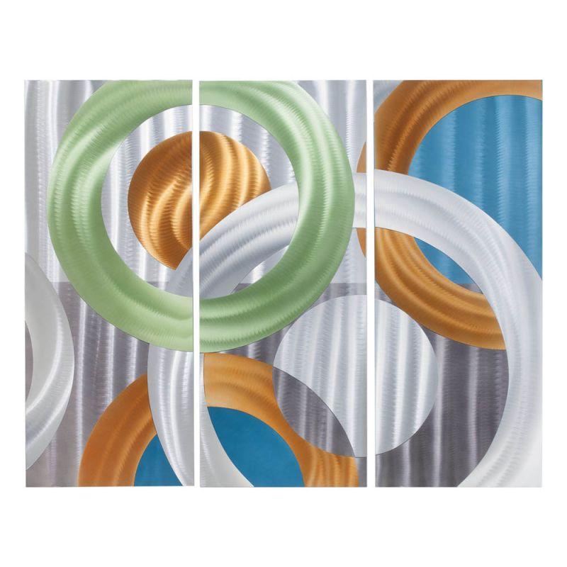 Nova Lighting 3710258 Continuum 3 Piece Wall Art Silver Home Decor