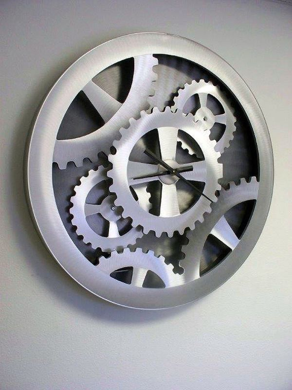 "Nova Lighting Silver Gears Moving Wall Clock Jon Gilmore Design 39"""