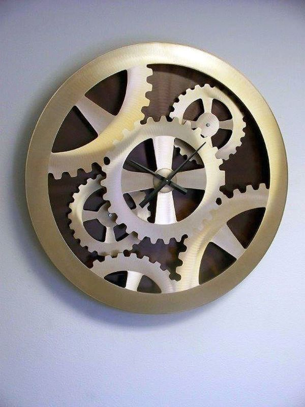 "Nova Lighting Gold Gears Moving Wall Clock Jon Gilmore Design 39"" Tall"