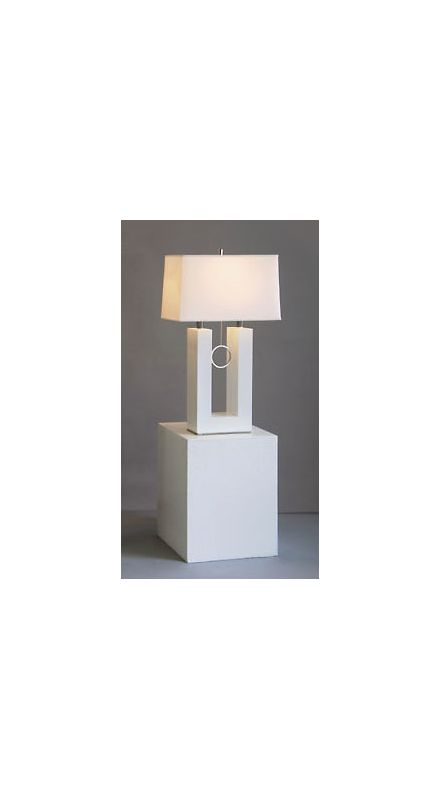 Nova Lighting 11638 30.5 Inch White Table Lamp with White Linen Shade