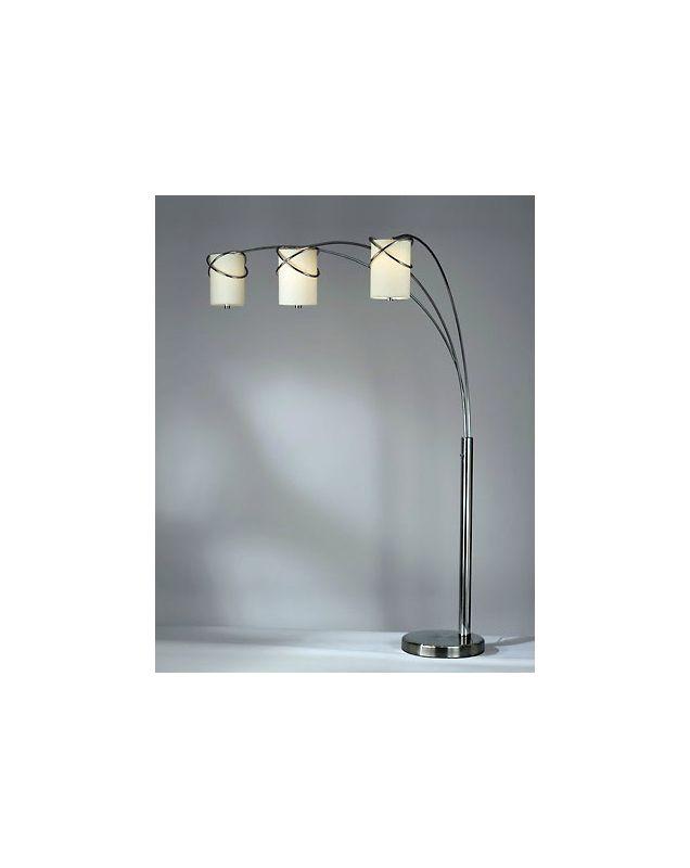 Nova Lighting 11934 94 Inch Arc Floor Lamp with White Linen Shades
