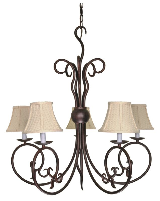 "Nuvo Lighting 60/040 Tapas 5 Light 28.5"" Wide Chandelier with Linen"