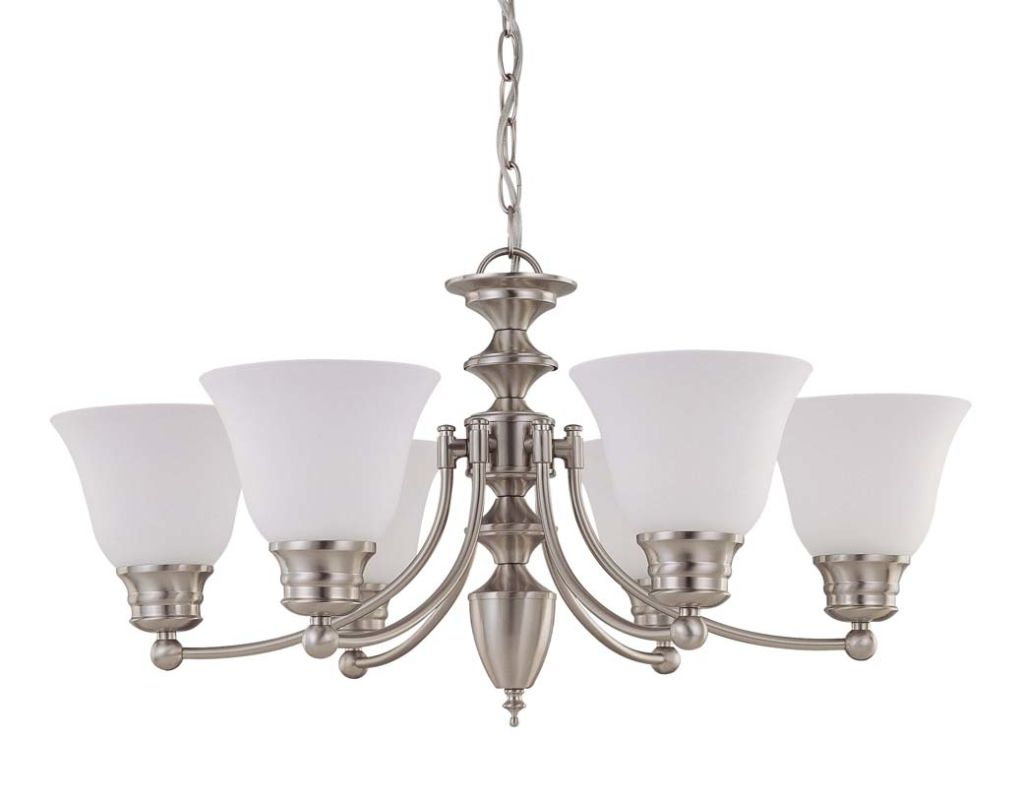 """Nuvo Lighting 60/3305 Empire 6 Light 26"""" Wide Chandelier with Frosted"""