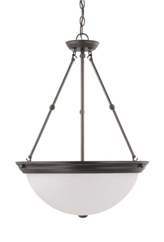 Nuvo Lighting 60/3343 Three Light Down Bowl Pendant Mahogany Bronze