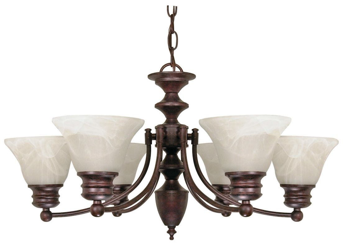 "Nuvo Lighting 60/358 Empire 6 Light 26"" Wide Chandelier with Alabaster"