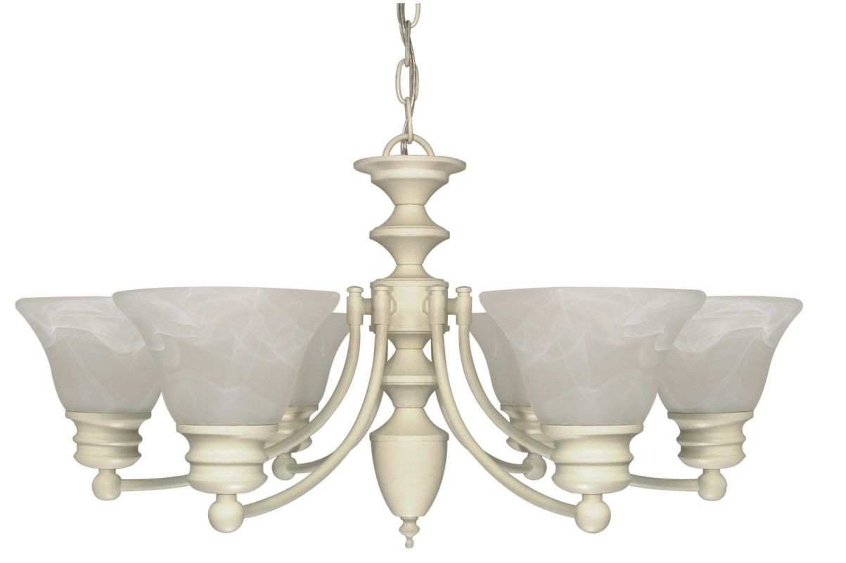 "Nuvo Lighting 60/359 Empire 6 Light 26"" Wide Chandelier with Alabaster"