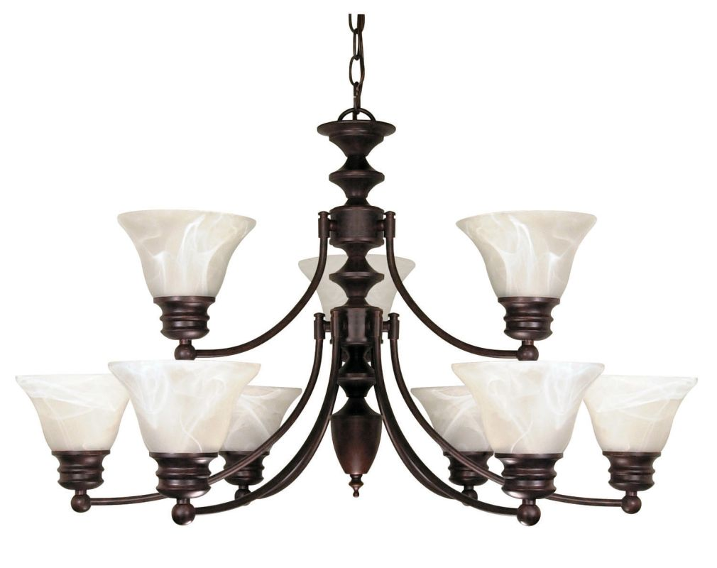 "Nuvo Lighting 60/362 Empire 9 Light 32"" Wide Chandelier with Alabaster"