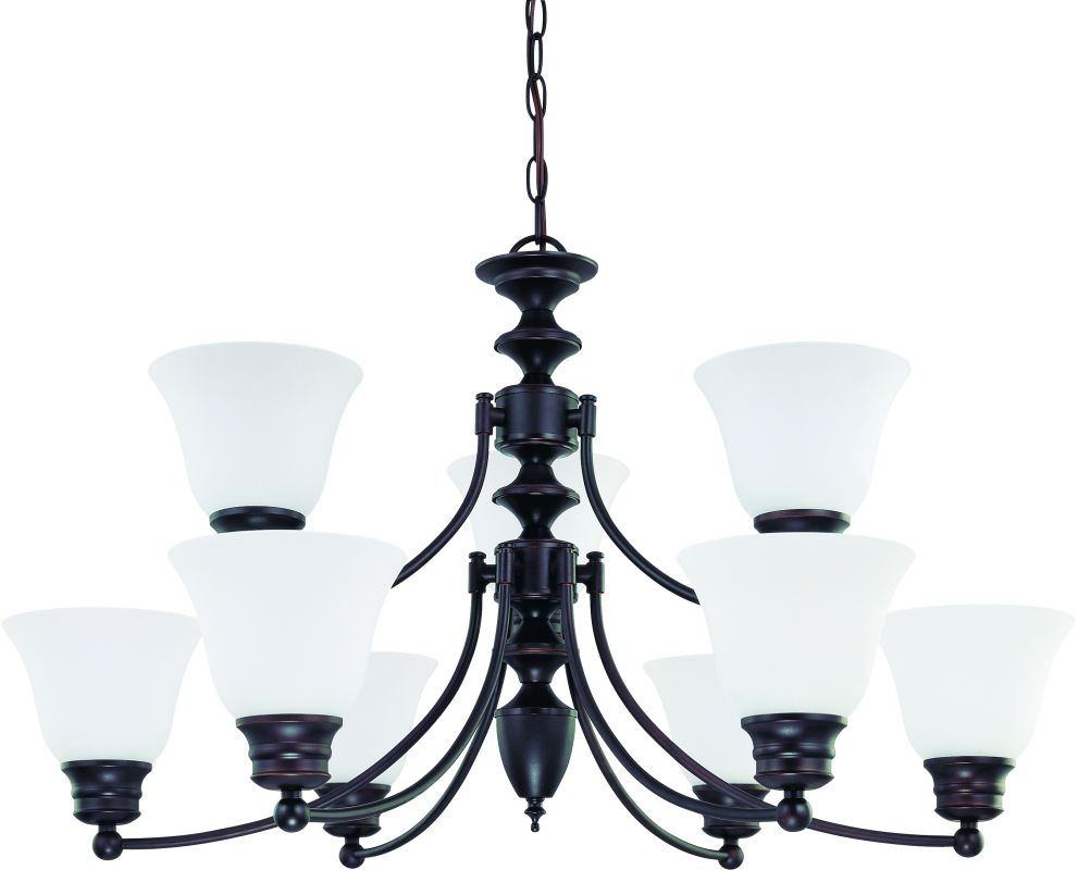 """Nuvo Lighting 60/3171 Empire 9 Light 32"""" Wide Chandelier with Frosted"""