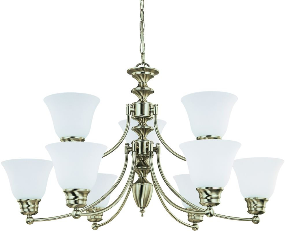 """Nuvo Lighting 60/3256 Empire 9 Light 32"""" Wide Chandelier with Frosted"""