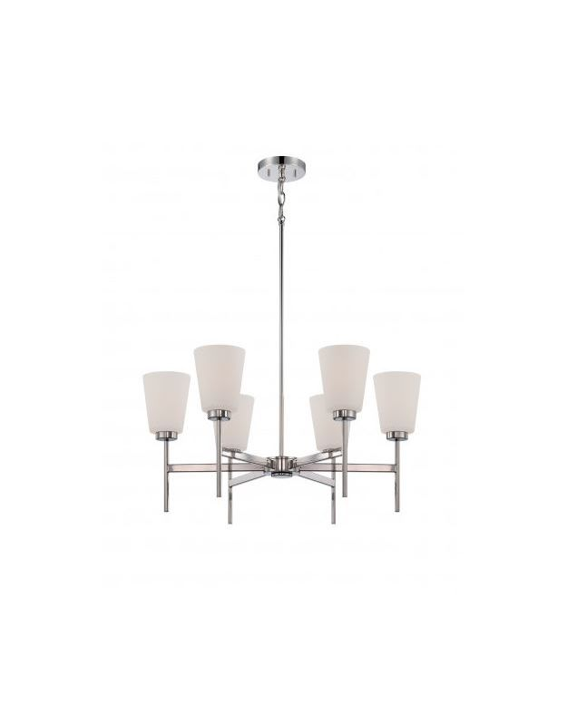 Nuvo Lighting 60/5216 Benson 6 Light 1 Tier Chandelier Polished Nickel