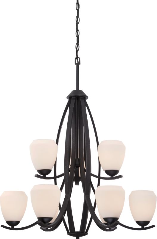 Nuvo Lighting 60/5469 Bali 9 Light 2 Tier Chandelier Textured Black Sale $599.99 ITEM: bci2590728 ID#:60/5469 UPC: 45923654695 :