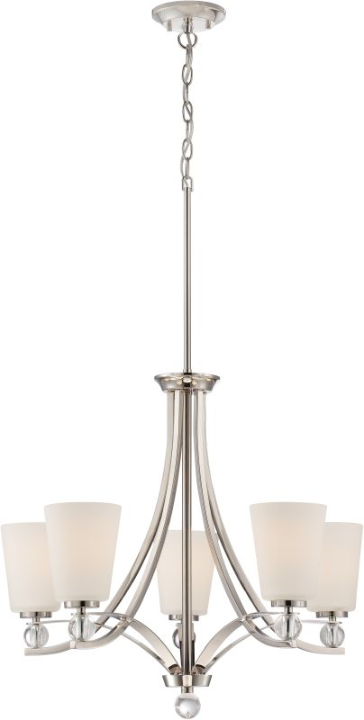 Nuvo Lighting 60/5495 Connie 5 Light 1 Tier Chandelier Polished Nickel
