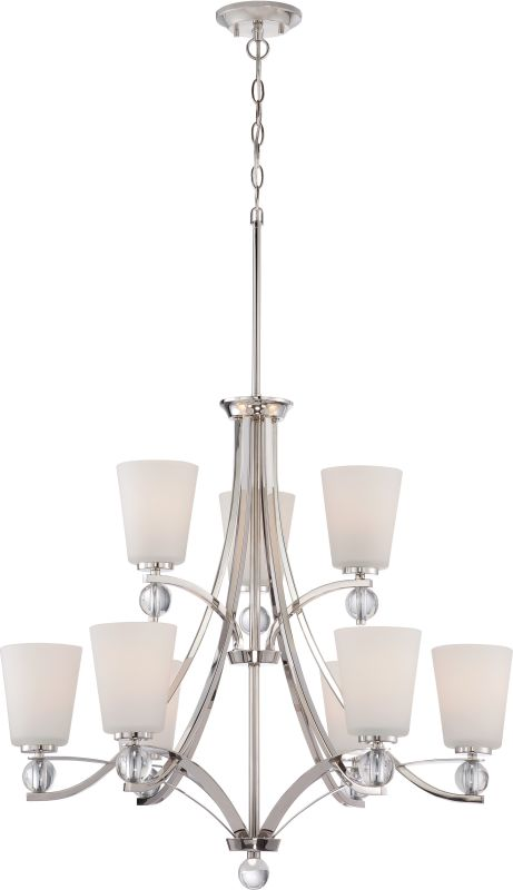 Nuvo Lighting 60/5499 Connie 9 Light 2 Tier Chandelier Polished Nickel
