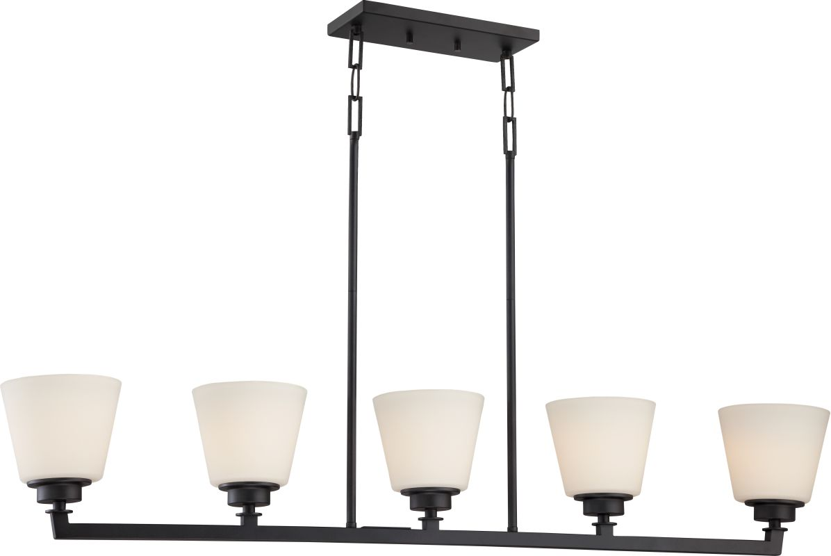 Nuvo Lighting 60/5555 Mobili 5 Light Large Linear Chandelier in Aged