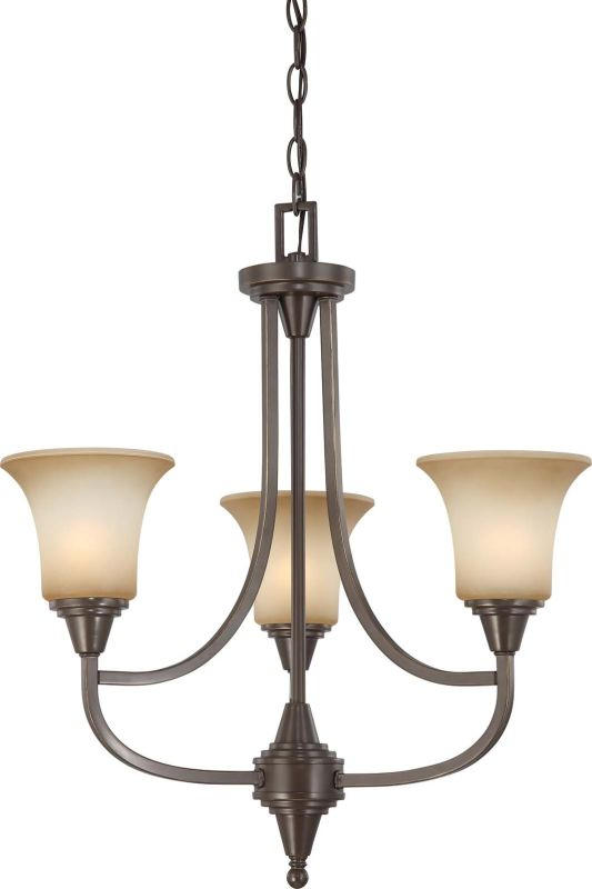 Nuvo Lighting 60/4165 Surrey Three Light Chandelier with Auburn Beige
