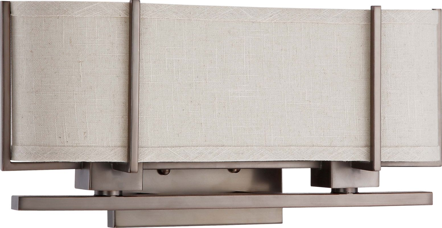 Nuvo Lighting 60/4454 Portia 2 Light Vanity Light with Khaki Fabric