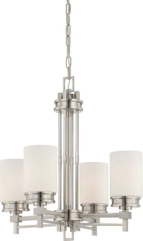 Nuvo Lighting 60/4707 Wright Four Light Chandelier with Satin White