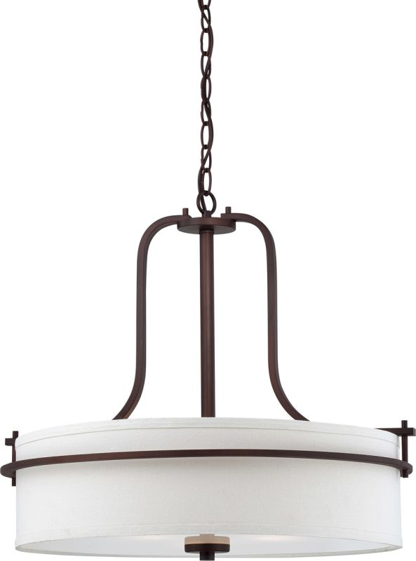 Nuvo Lighting 60/5008 Loren Three-Light Pendant with White Linen Shade