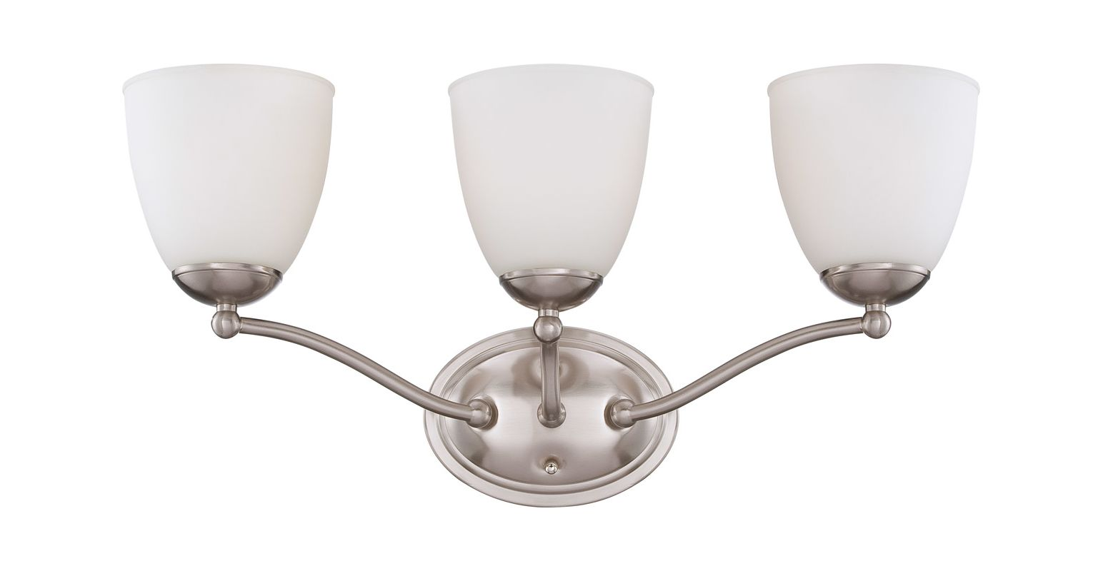 Nuvo Lighting 60/5033 Patton Three-Light Bathroom Fixture with Frosted