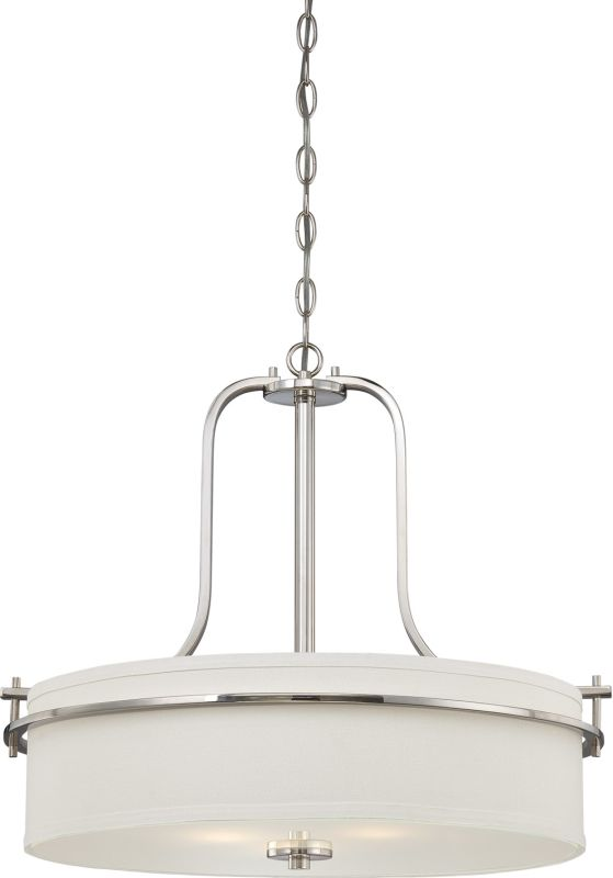 Nuvo Lighting 60/5108 Loren Three-Light Pendant with White Linen Shade