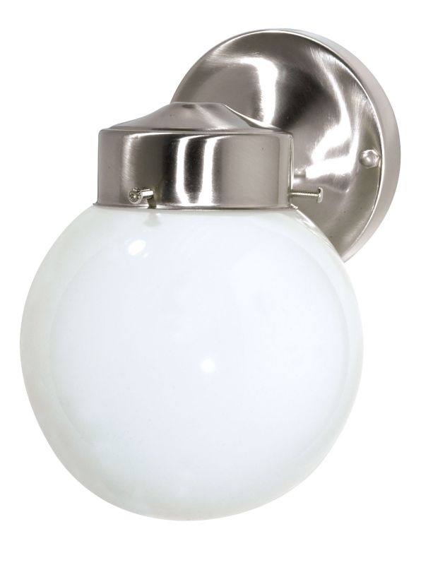"Nuvo Lighting 76/705 Single Light 6"" Porch Light with White Globe"