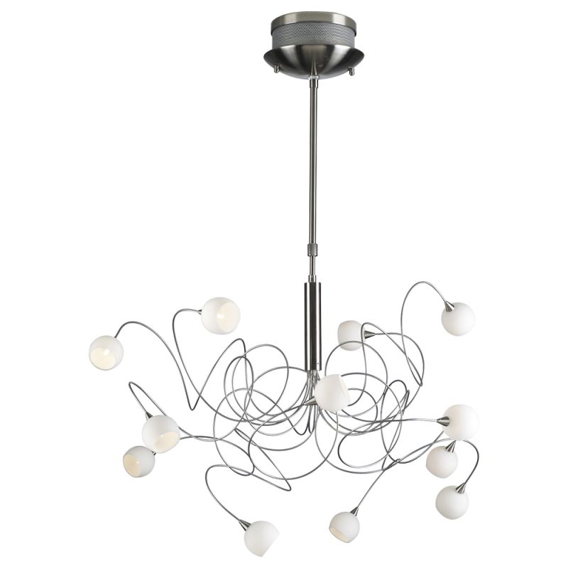 PLC Lighting 6035 SN Satin Nickel Contemporary Fusion Chandelier