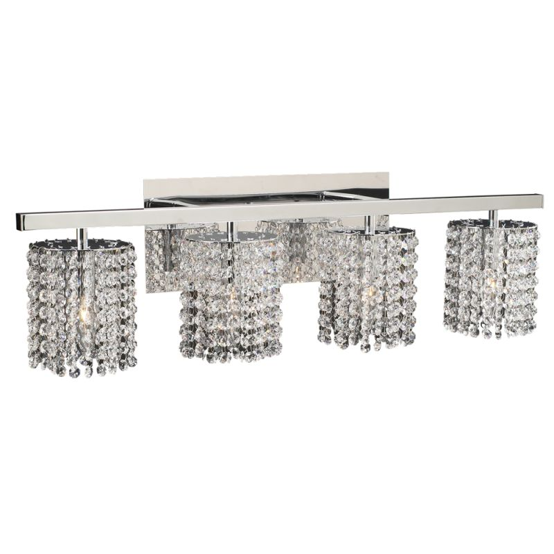 Plc Lighting 72196 Pc Polished Chrome Four Light Crystal Bathroom Vanity Light Fixture From The