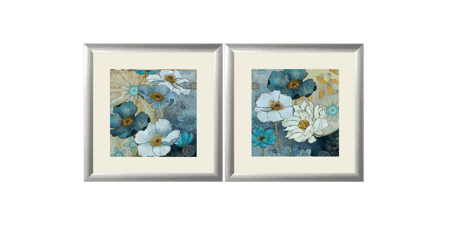 "PTM Images 1-32952 20 Inch x 20 Inch ""Blue & White Primrose"" Two Piece"