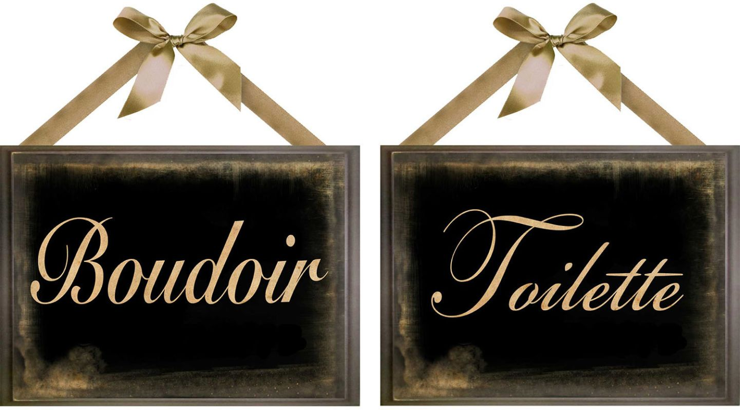 PTM Images 6-1964 French Bedroom and Bathroom Signs (Set of 2) Black