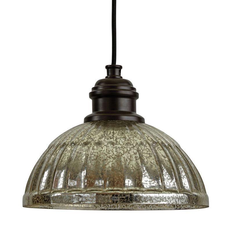 """Park Harbor PHPL5461 10"""" Wide Single Light Mini Pendant with Ribbed"""