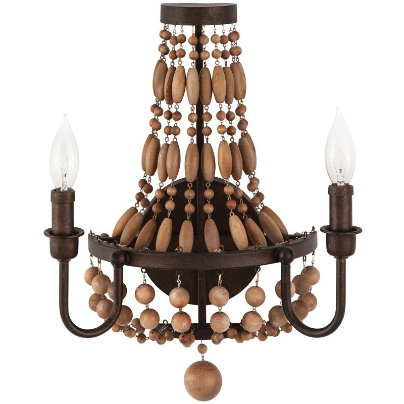 """Park Harbor PHWL3152 Casa Maya 13"""" Wide 2 Light Wall Sconce with Wood"""