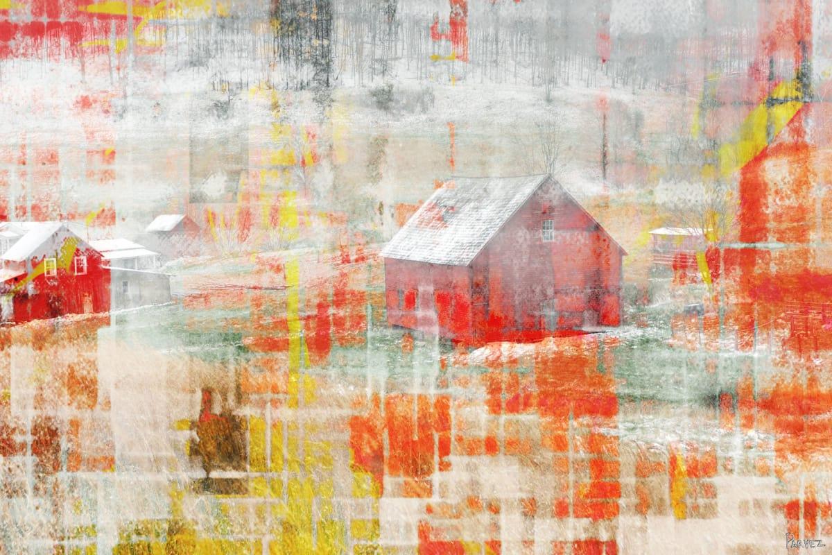 Parvez Taj Red Barn Art Print on Premium Canvas 24 x 36 Home Decor