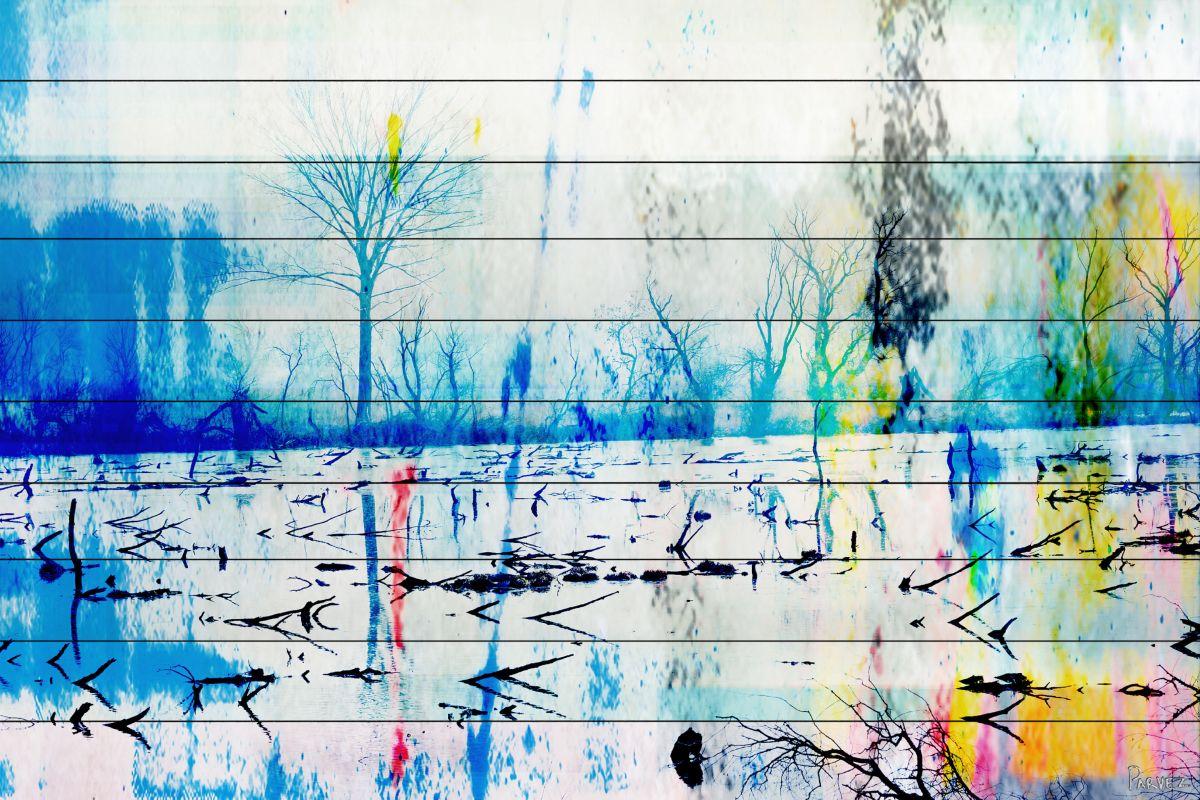 Parvez Taj Morrison Lake - White Wood Art Print on White Pine Wood 24 Sale $180.03 ITEM: bci2686247 ID#:F12-RC14-WW-32 UPC: 701160399576 :