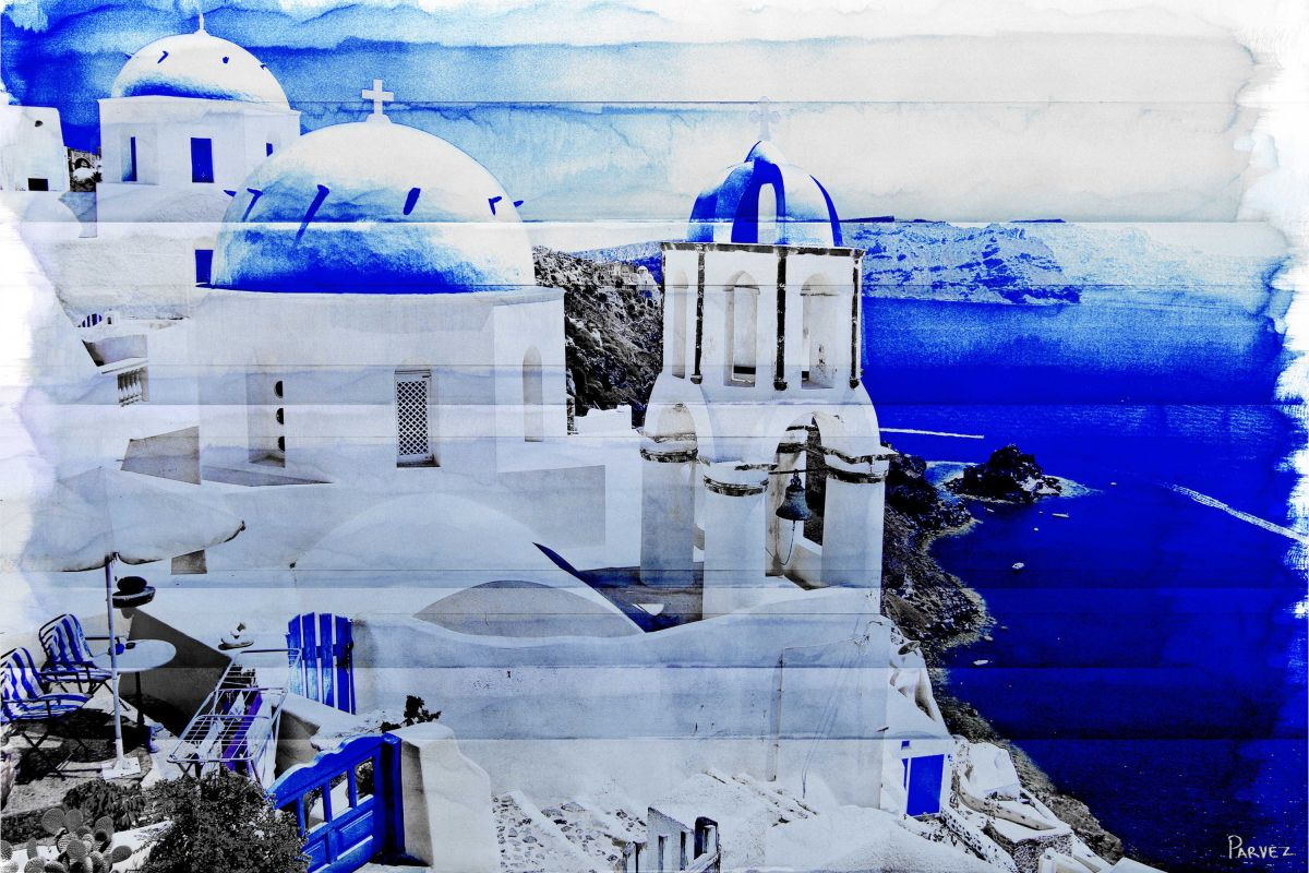 Parvez Taj Santorini Art Print on Premium Canvas 12 x 18 Home Decor