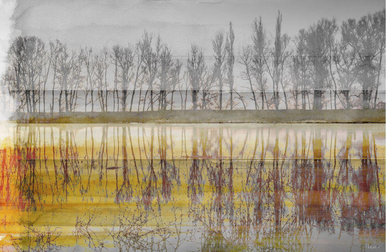 Parvez Taj Sunset Lake Art Print on Premium Canvas 12 x 18 Home Decor